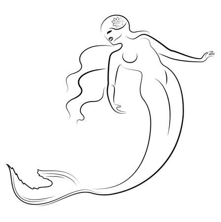 Silhouette of a mermaid. Beautiful girl is floating in the water. The lady is young and slender. Fantastic image of a fairy tale. Vector illustration Illustration