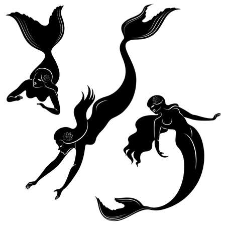 Collection. Silhouette of a mermaid. Beautiful girl swims in the water.