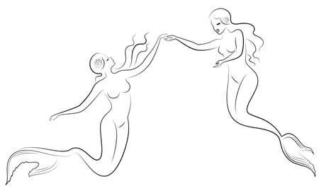 Silhouette of two mermaids. Beautiful girls swim in the water, dance.
