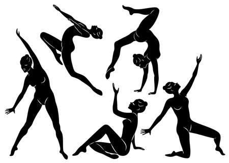Collection. Silhouette of slender lady. Girl gymnast. The woman is flexible and graceful.