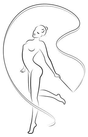 Rhythmic gymnastics. Silhouette of a girl with a ribbon. Beautiful gymnast.