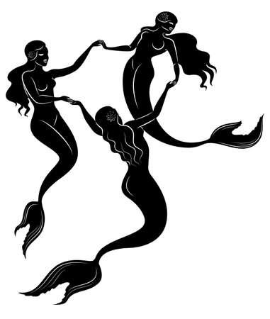 Silhouette drei Meerjungfrauen. Schöne Mädchen schwimmen im Wasser, tanzen.