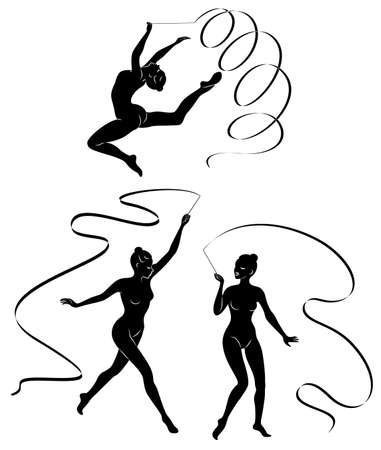 Colección. Gimnasia rítmica. Silueta de una niña con una cinta. Hermosa gimnasta. Ilustración de vector