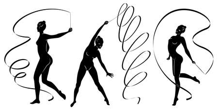 Collection. Rhythmic gymnastics. Silhouette of a girl with a ribbon. Beautiful gymnast. Vectores