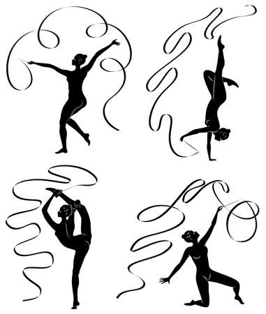 Collection. Rhythmic gymnastics. Silhouette of a girl with a ribbon. Beautiful gymnast. The woman is slim and young. Vector illustration set Иллюстрация