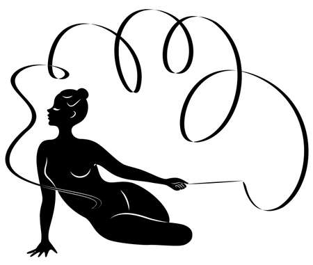 Rhythmic gymnastics. Silhouette of a girl with a ribbon. Beautiful gymnast. The woman is slim and young. Vector illustration