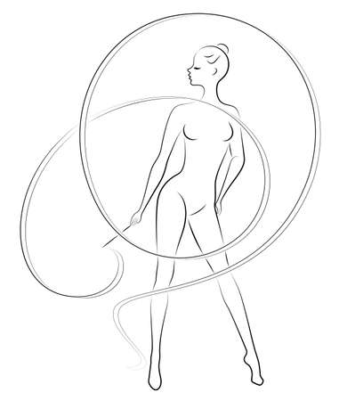 Rhythmic gymnastics. Silhouette of a girl with a ribbon. Beautiful gymnast. The woman is slim and young. Vector illustration.