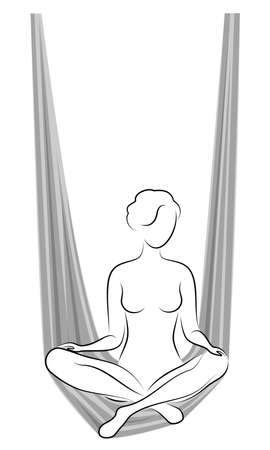 Fly yoga. Yoga on the hammock. Silhouette of a slender girl who goes in for sports, meditation. Good for your health. Vector illustration.