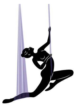 Fly yoga. Yoga on the hammock. Silhouette of a slender girl who goes in for sports, meditation. Good for your health. Vector illustration Иллюстрация
