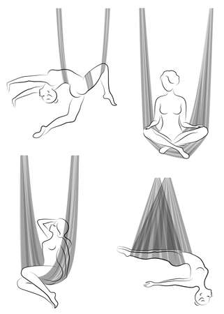 Collection. Fly yoga. Yoga in a hammock. Silhouette of a slender girl who goes in for sports, meditation. Good for your health. Vector illustration, set Иллюстрация
