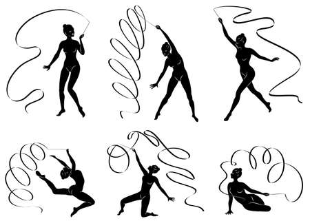 Collection. Rhythmic gymnastics. Silhouette of a girl with a ribbon. Beautiful gymnast. The woman is slim and young. Vector illustration set 版權商用圖片 - 131435375