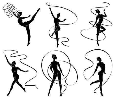 Collection. Rhythmic gymnastics. Silhouette of a girl with a ribbon. Beautiful gymnast. The woman is slim and young. Vector illustration set.