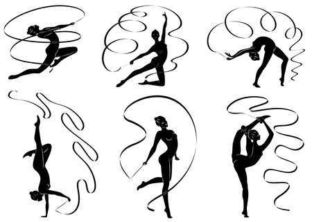 Collection. Rhythmic gymnastics. Silhouette of a girl with a ribbon. Beautiful gymnast. The woman is slim and young. Vector illustration set 向量圖像