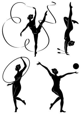 Collection. Rhythmic gymnastics. Silhouette of a girl with maces, ball, ribbon, hoop. Beautiful gymnast. The woman is slim and young. Vector illustration of a set.