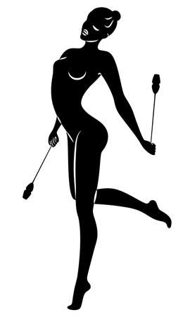 Rhythmic gymnastics. Silhouette of a girl with maces. Great gymnast. The woman is slim and young. Vector illustration Иллюстрация