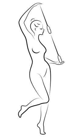 Rhythmic gymnastics. Silhouette of a girl with maces. Great gymnast. The woman is slim and young. Vector illustration.