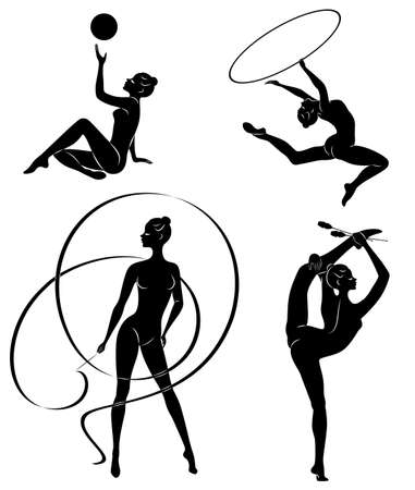 Collection. Rhythmic gymnastics. Silhouette of a girl with maces, ball, ribbon, hoop. Beautiful gymnast. The woman is slim and young. Vector illustration of a set Reklamní fotografie - 132126496