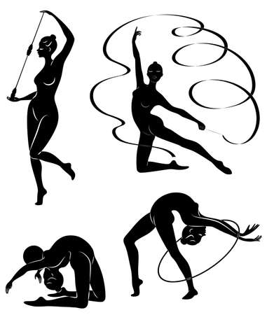 Collection. Rhythmic gymnastics. Silhouette of a girl with maces, ball, ribbon, hoop. Beautiful gymnast. The woman is slim and young. Vector illustration of a set Stock Illustratie