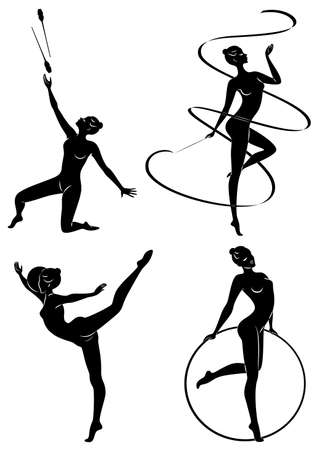 Collection. Rhythmic gymnastics. Silhouette of a girl with maces, ball, ribbon, hoop. Beautiful gymnast. The woman is slim and young. Vector illustration of a set Ilustracja