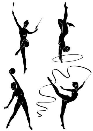 Colección. Gimnasia rítmica. Silueta de una niña con mazas, pelota, cinta, aro. Hermosa gimnasta. La mujer es delgada y joven. Ilustración de vector de un conjunto.