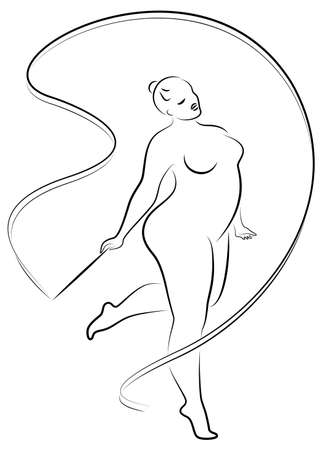 Gymnastics. Silhouette of a girl with a ribbon. The woman is overweight, a large body. The girl is full. Vector illustration.