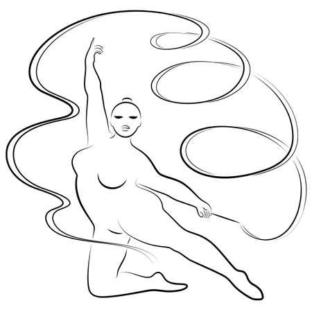 Gymnastik. Silhouette eines Mädchens mit einem Band. Die Frau ist übergewichtig, ein großer Körper. Das Mädchen ist vollfigurig. Vektor-Illustration. Vektorgrafik