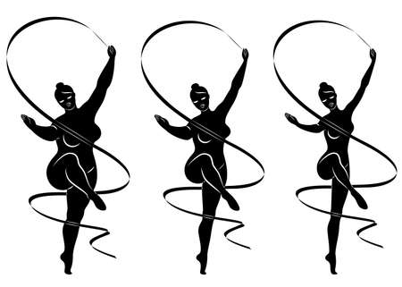 Collection. Silhouette of a cute lady, she is engaged in rhythmic gymnastics with a ribbon. The woman is overweight and slender girl athlete. Vector illustration set.