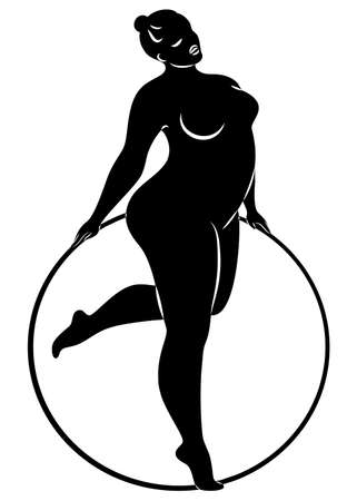 Gymnastics Silhouette of a girl with a hoop. The woman is overweight, a large body. The girl is a full figure. Vector illustration.