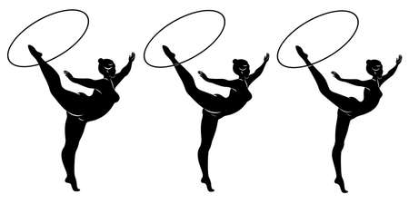 Collection. Silhouette of a cute lady, she is engaged in rhythmic gymnastics with a hoop. The woman is overweight and a slender girl athlete. Vector illustration set.