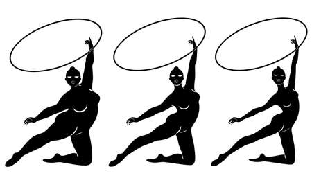 Collection. Silhouette of a cute lady, she is engaged in rhythmic gymnastics with a hoop. The woman is overweight and a slender girl athlete. Vector illustration set Stok Fotoğraf - 135024719