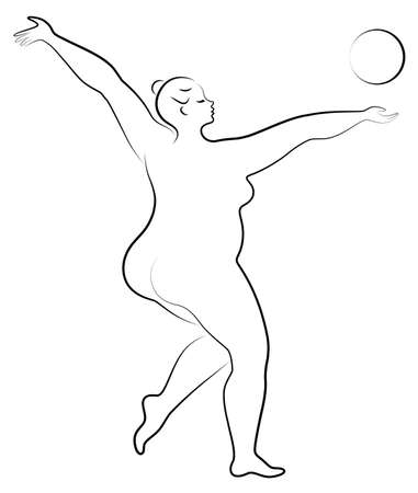 Gymnastics Silhouette of a girl with a ball. The woman is overweight, a large body. The girl is a full figure. Vector illustration. Stok Fotoğraf - 136514306