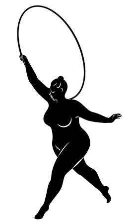 Gymnastics Silhouette of a girl with a hoop. The woman is overweight, a large body. The girl is a full figure. Vector illustration. Stok Fotoğraf - 136514309