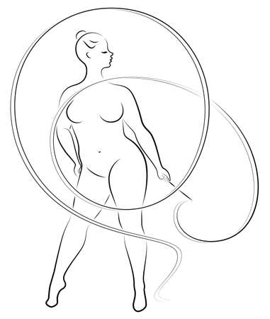 Gymnastics. Silhouette of a girl with a ribbon. The woman is overweight, a large body. The girl is full figured. Vector illustration. Stok Fotoğraf - 136514310