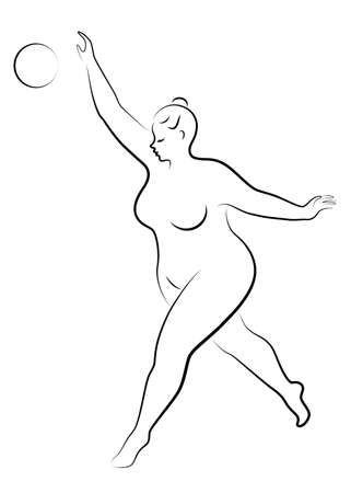 Gymnastics Silhouette of a girl with a ball. The woman is overweight, a large body. The girl is a full figure. Vector illustration. Çizim