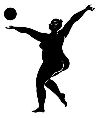Gymnastics Silhouette of a girl with a ball. The woman is overweight, a large body. Çizim