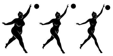 Collection. Silhouette of a cute lady, she is engaged in rhythmic gymnastics with a ball. The woman is overweight and a slender girl athlete. Vector illustration set. Stok Fotoğraf - 136528318