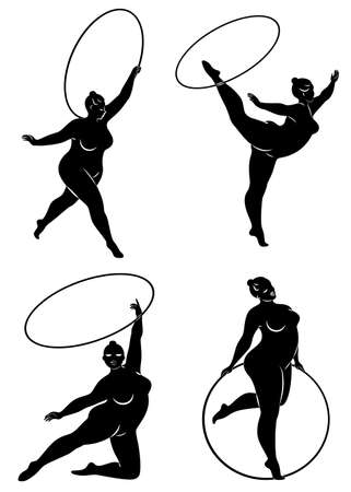 Collection. Gymnastics Silhouette of a girl with a hoop. The woman is overweight, a large body. The girl is a full figure. Set of vector illustrations.