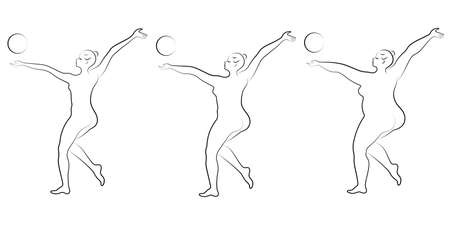 Collection. Silhouette of a cute lady, she is engaged in rhythmic gymnastics with a ball. The woman is overweight and a slender girl athlete. Vector illustration set.