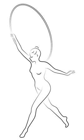 Rhythmic gymnastics. Silhouette of a girl with a hoop. Beautiful gymnast. The woman is slim and young. Vector illustation