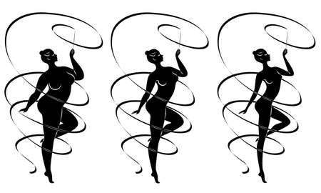 Collection. Silhouette of a cute lady, she is engaged in rhythmic gymnastics with a ribbon. The woman is overweight and slender girl athlete. Vector illustration set
