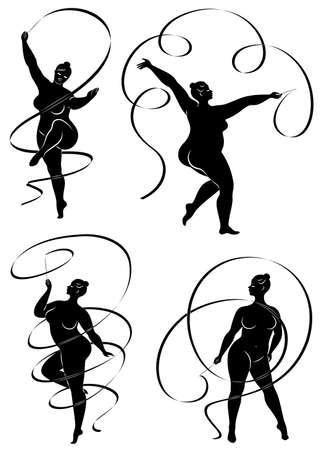 Sammlung. Gymnastik. Silhouette eines Mädchens mit einem Band. Die Frau ist übergewichtig, ein großer Körper. Das Mädchen ist vollfigurig. Vektor-Illustration-Set.
