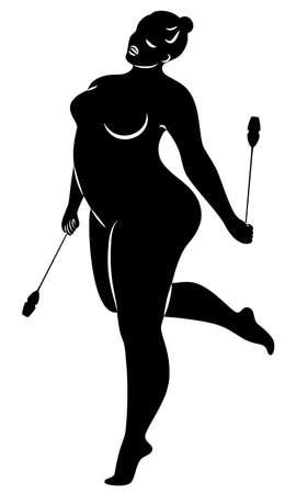 Gymnastik Silhouette eines Mädchens mit Keulen. Die Frau ist übergewichtig, ein großer Körper. Das Mädchen ist vollfigurig. Vektor-Illustration