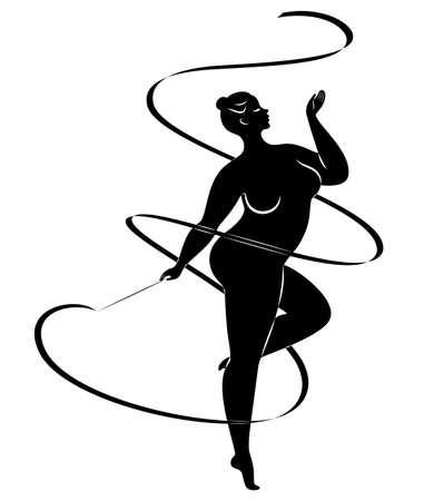 Gymnastik. Silhouette eines Mädchens mit einem Band. Die Frau ist übergewichtig, ein großer Körper. Das Mädchen ist vollfigurig. Vektor-Illustration.
