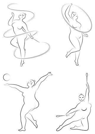 Collection. Gymnastics Silhouette of a girl with a hoop, ribbon, ball, clubs. The woman is overweight, a large body. The girl is a full figure. Set of vector illustrations.
