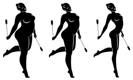Collection. Silhouette of a cute lady, she does rhythmic gymnastics with clubs. The woman is overweight. Slender girl athlete. Vector illustration set.