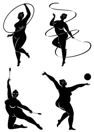 Collection. Gymnastics Silhouette of a girl with a hoop, ribbon, ball, clubs. The woman is overweight, a large body. Stok Fotoğraf - 137554934