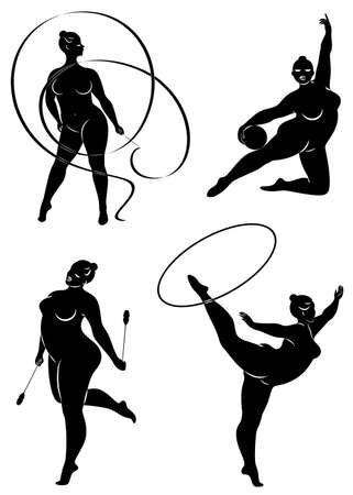 Collection. Gymnastique Silhouette d'une fille avec un cerceau, ruban, ballon, clubs. La femme est en surpoids, un gros corps. La fille est une silhouette complète. Ensemble d'illustrations vectorielles.