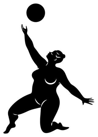 Gymnastics Silhouette of a girl with a ball. The woman is overweight, a large body. The girl is a full figure. Vector illustration. Stok Fotoğraf - 137554941