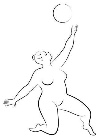 Gymnastics Silhouette of a girl with a ball. The woman is overweight, a large body. The girl is a full figure. Vector illustration. Stok Fotoğraf - 137554947