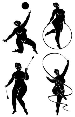 Collection. Gymnastics Silhouette of a girl with a hoop, ribbon, ball, clubs. The woman is overweight, a large body. The girl is a full figure. Set of vector illustrations Çizim